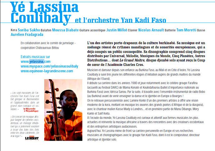 Yé Lassina Coulibaly et l'orchestre Yan Kadi Faso